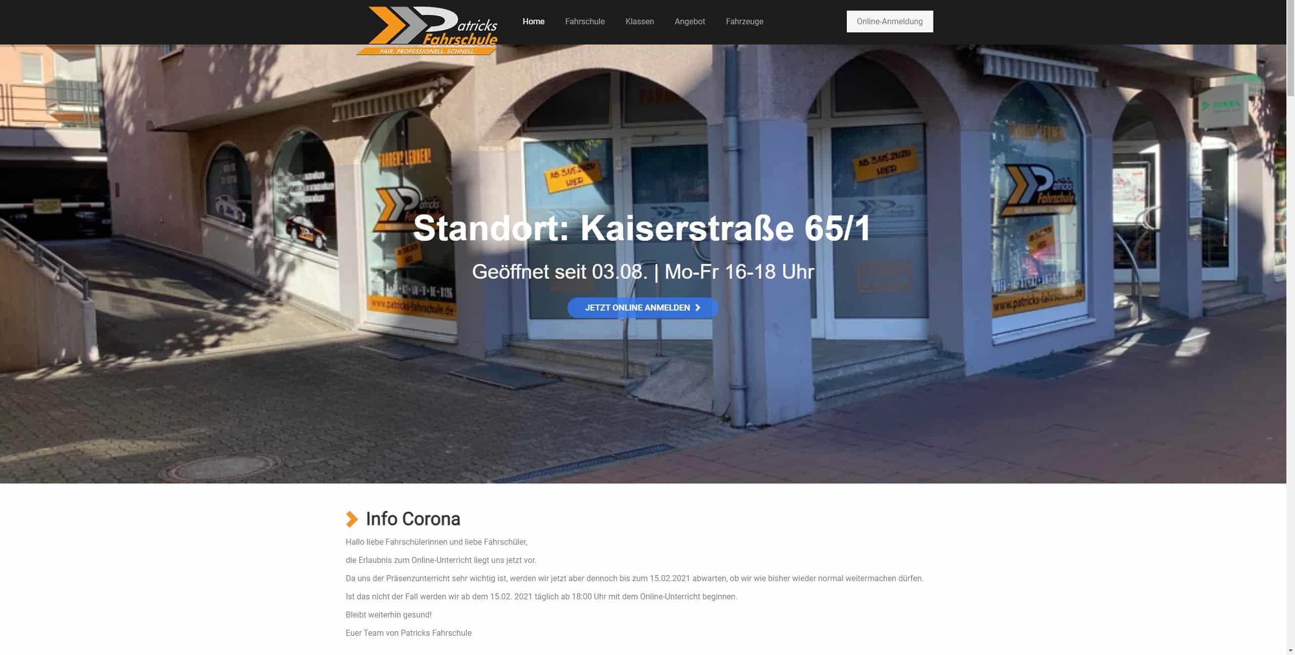 Fahrschule Webseite
