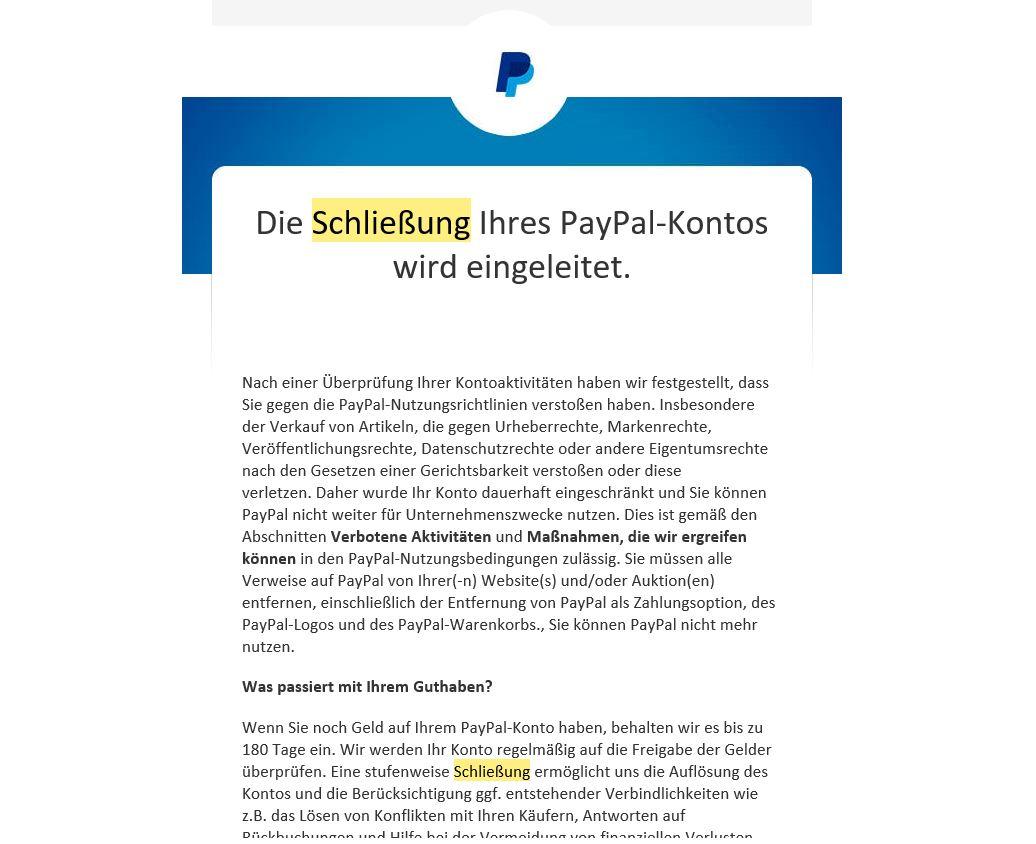 PayPal Konto gesperrt