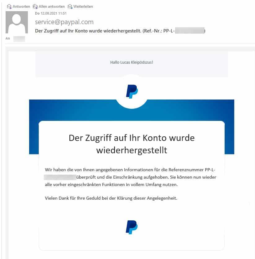 Die E-Mail der Freischaltung